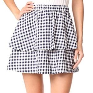 NWT Madewell Navy Gingham Tiered Flutter Skirt-L